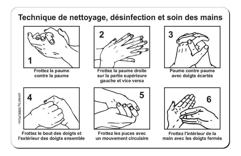 Autocollant Technique de nettoyage des mains