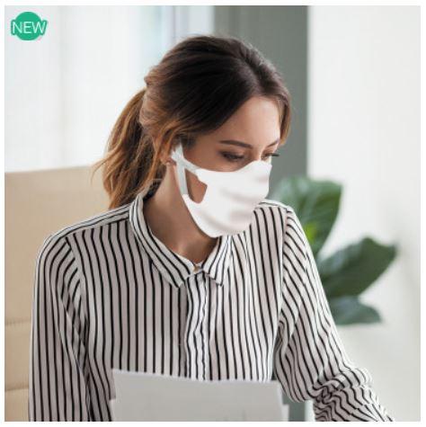 Masque Sam en tissu blanc homologué et lavable + de 50 fois