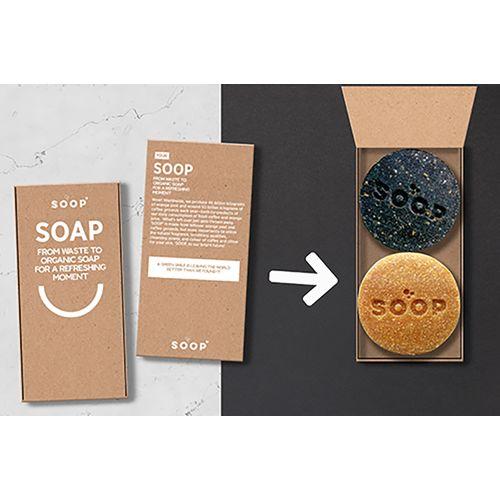 SOOP savon organique marc de café  et  SOOP savon organique – pelures d'orange