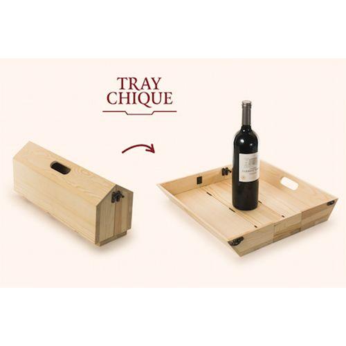 Rackpack Traychique-: coffret cadeau à vin ET plateau de service en un produit !
