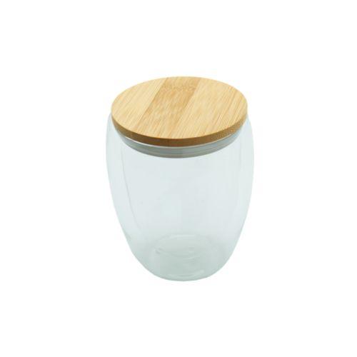 Tasse en verre double paroi 'Ocha', couvercle en bambou, 350 ml