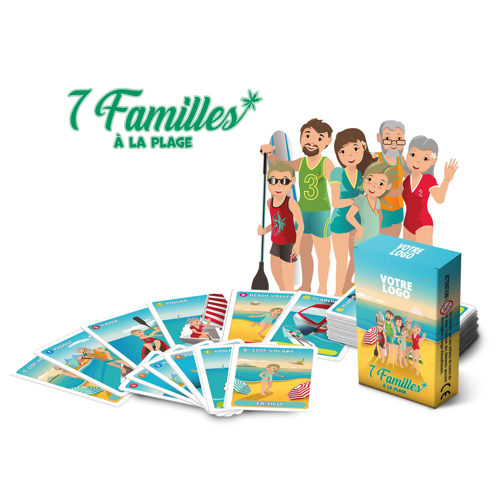 7 familles - à la plage - 44 cartes personnalisables-carton 300 g