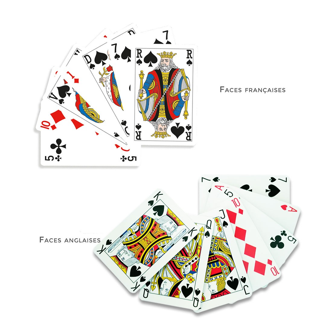 Jeu de bridge - 55 cartes - carton 290 g