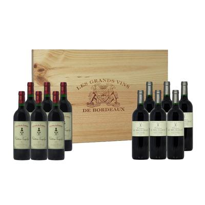 Vins de Bordeaux coffret EXCELLENCE caisse bois 12 bts