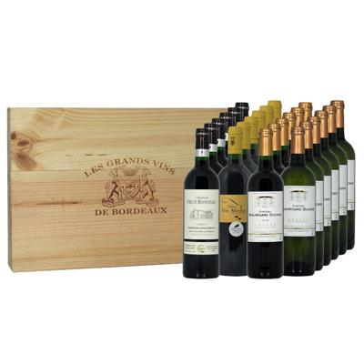"""Vins de Bordeaux - coffret caisse bois 4 x 6 bouteilles """"SENSATION"""""""