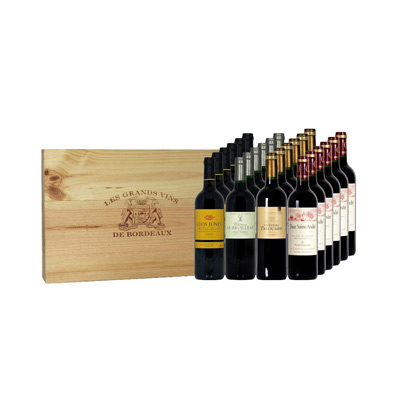 Vins de Bordeaux coffret EXPERT caisse bois 4 x 6 bouteilles