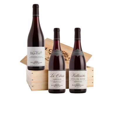 """Vins de la Vallée du Rhône, COFFRET  """" INVITATION CHAPOUTIER """" sous caisse bois 3 bts x 75cl."""