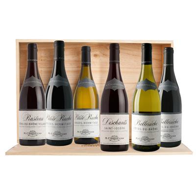 """Vins de la Vallée du Rhône, COFFRET  """" COLLECTION CHAPOUTIER """" sous caisse bois 6 bts à plat x 75cl."""