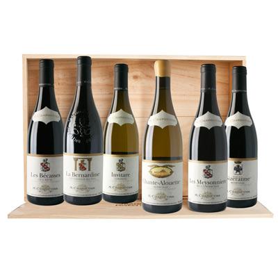 """Vins de la Vallée du Rhône, COFFRET  """" REFERENCE CHAPOUTIER """" sous caisse bois 6 bts à plat x 75cl."""