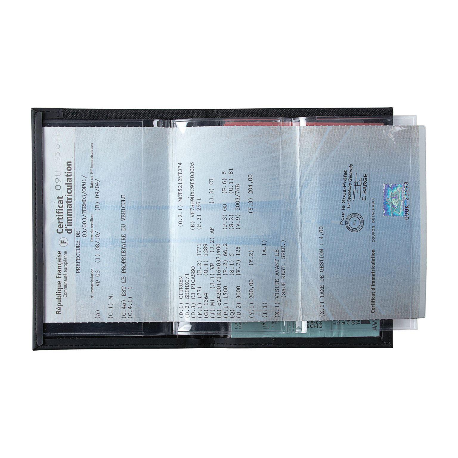 Porte carte grise 600d/PVC