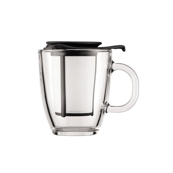 Set mug en verre, filtre en nylon, 0.35 l Tasse avec son infuseur Contenance 0.35L