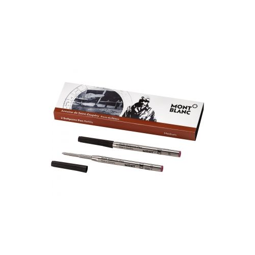 Les accessoires d'écriture :  2 recharges de stylo bille (M), Antoine de Saint-Exupéry