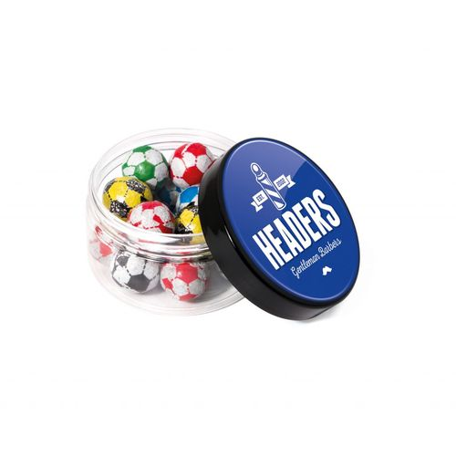 Boite ronde à visser - Balles de football en chocolat