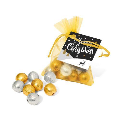 Pochon organza - Boules en chocolat