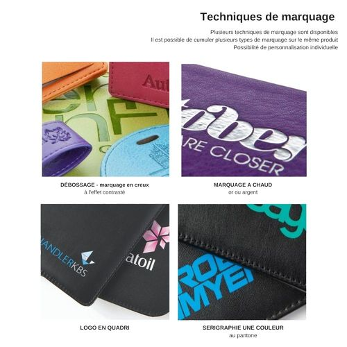 Pochette zippée 180 x 120 x 5 mm en simili de couleur