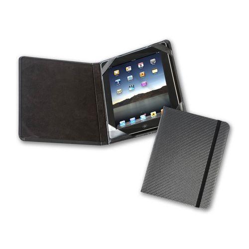 Protège tablette façon carnet en simili effet fibre de carbone