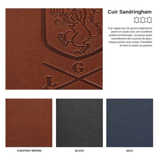 Conférencier zippé A4 en cuir Sandringham