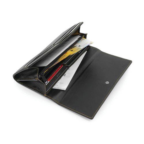 Portefeuille avec porte monnaie zippé en cuir Sandringham de couleur