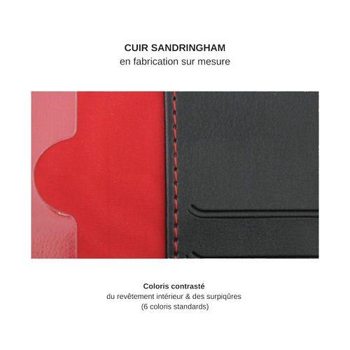 Porte-cartes zippé anti-RFiD en cuir Sandringham noir