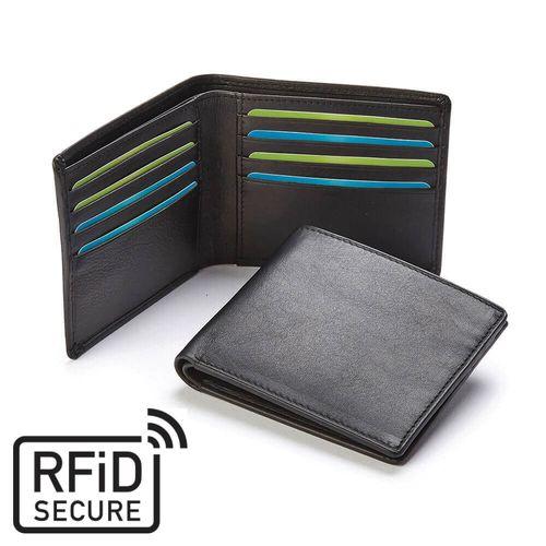 Portefeuille anti-RFiD en cuir Sandringham noir