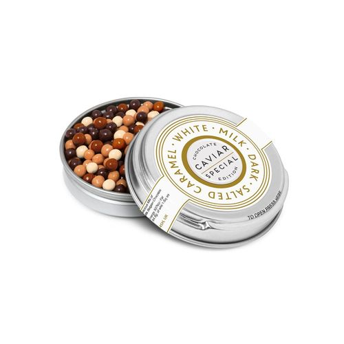 Boite métallique argentée caviar - Perles en chocolat
