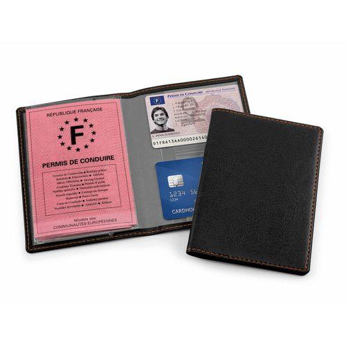 Protège carte grise en cuir Hampton noir