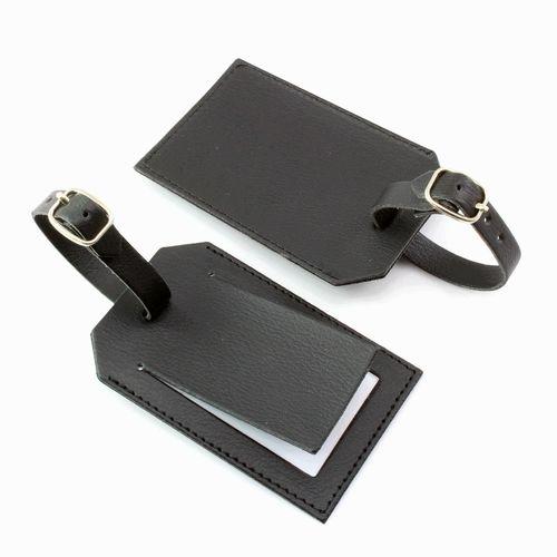 Etiquette à bagage avec volet en cuir Kensington ou Sandringham