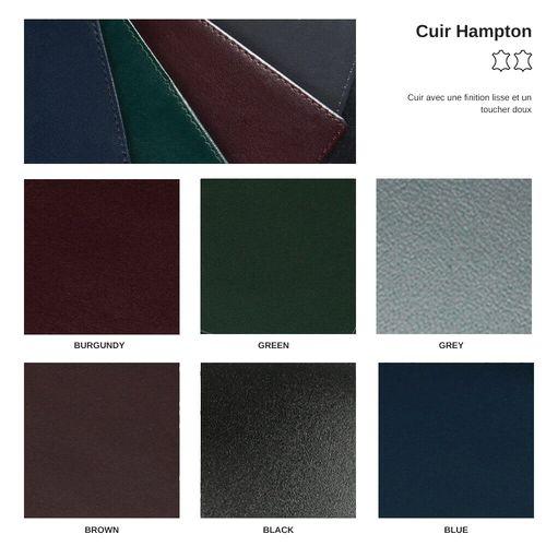 Pochette zippée 180 x 120 x 5 mm en cuir Hampton de couleur