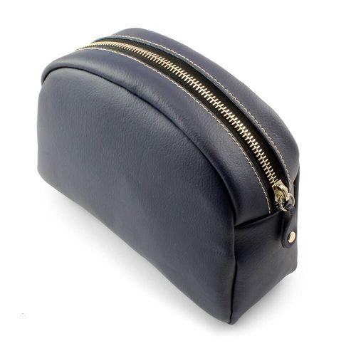 Pochette zippée 200 x 150 x 75 mm en cuir Hampton de couleur