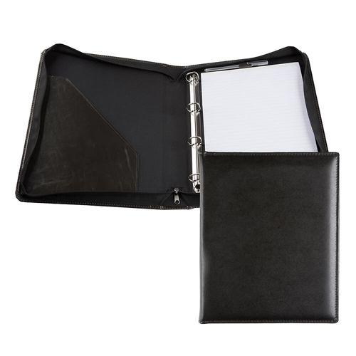 Conférencier zippé A4 avec anneaux en cuir recyclé E-Leather