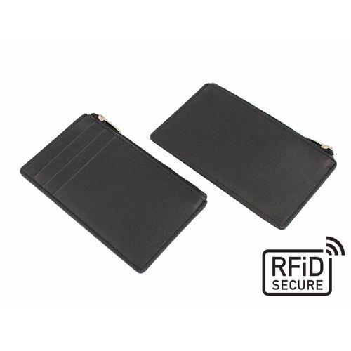 Porte-cartes zippé anti-RFiD en cuir Sandringham