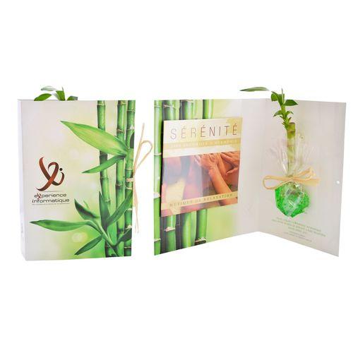 Carte avec CD et bambou, Objet personnalisable, comité social économique