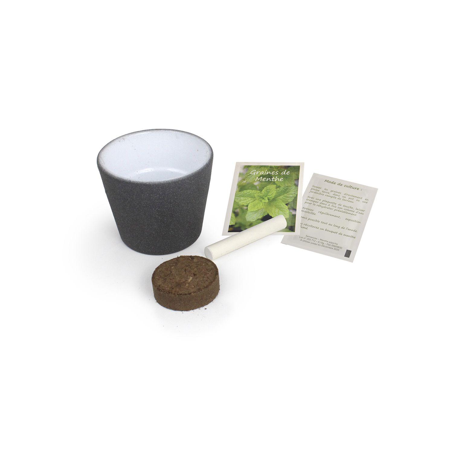 Pot à Graines Cube ARDOISE