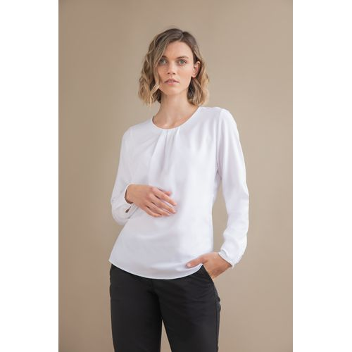 LADIES' PLEAT FRONT LONG SLEEVED BLOUSE