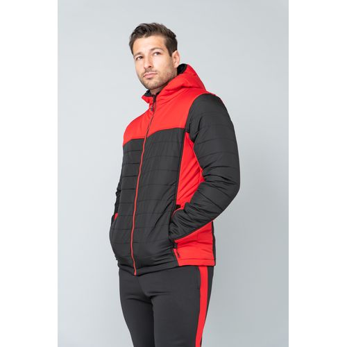 HOODED CONTRAST PUFFER JACKET