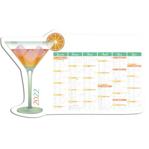 CALENDRIERS DECOUPES COCKTAIL INC 65 (650 x 405 mm)