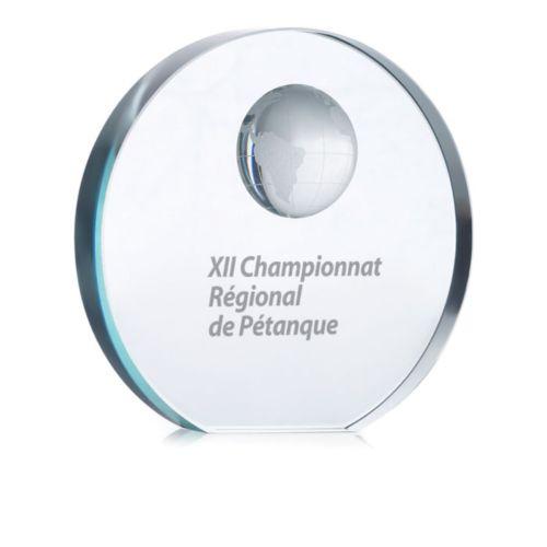 MONDAL Trophée globe en verre  personnalisé montpellier Paris Ile de France
