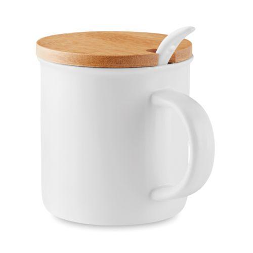 Mug porcelaine avec cuillère