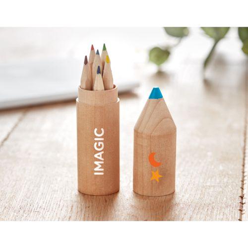 6 crayons dans un étui en bois PERSONNALISABLE