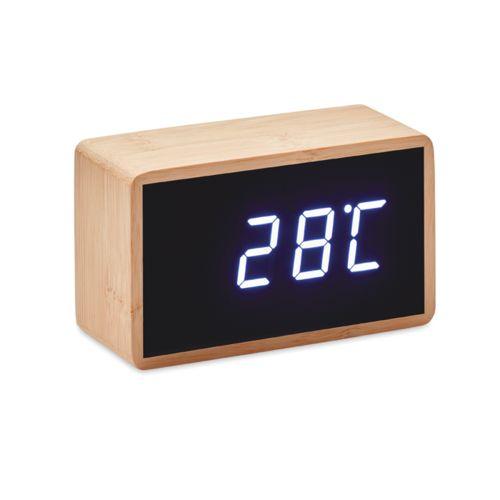 Relógio alarme LED capa bambú