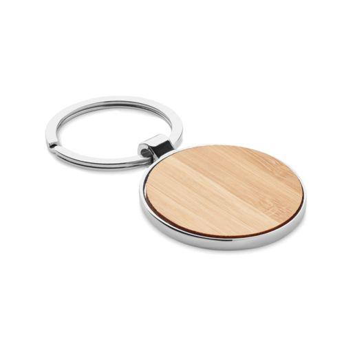 Porte-clés rond métal bambou