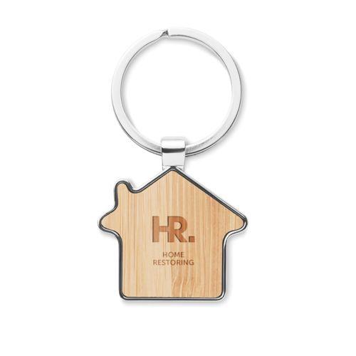 Porte-clés maison métal bambou publicitaire personnalisé annecy génève chambéry lyon