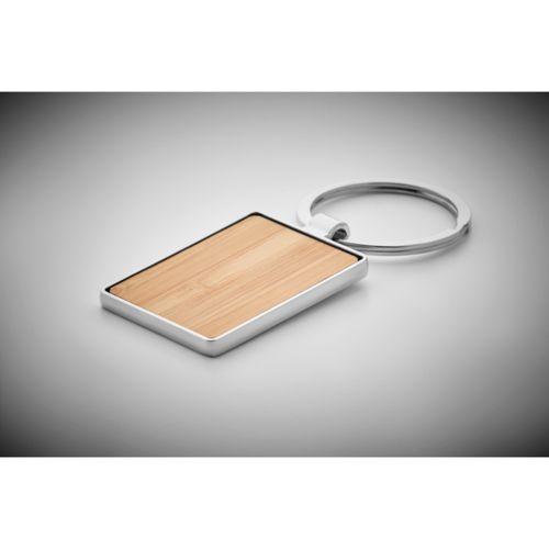 Porte-clés rectangle en bambou publicitaire personnalisé annecy génève chambéry lyon