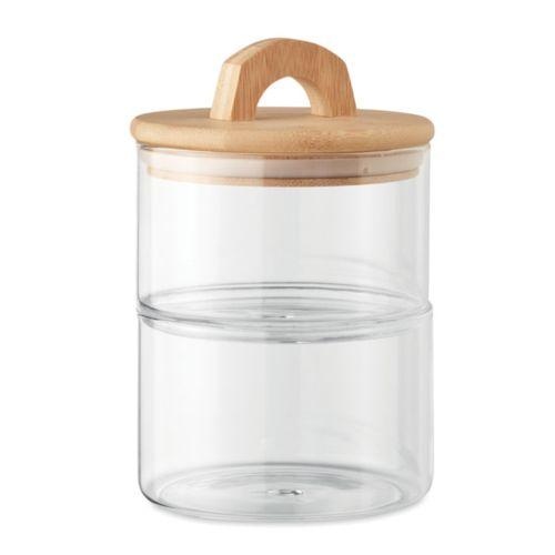 2 boites empilables en verre