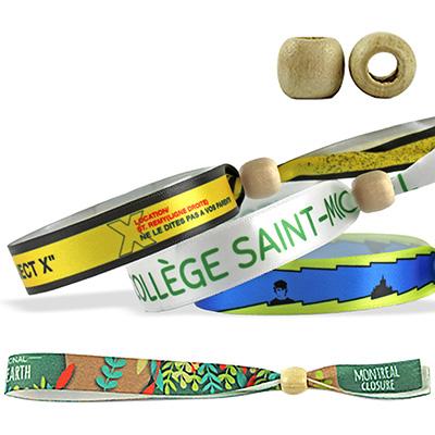 Bracelets en satin recyclé avec fermeture en bois réutilisable (Montréal)