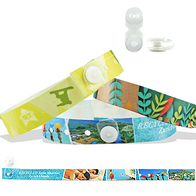 Bracelets en satin recyclé avec fermeture bouton en vinyle à pression transparent (Zurich)