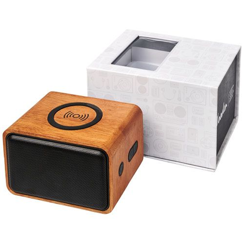 Wooden speaker with wireless charging pad