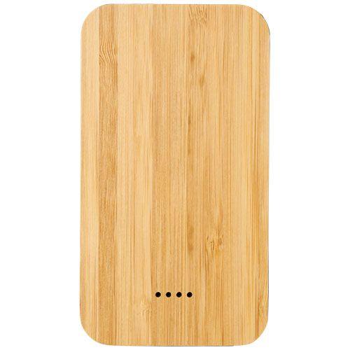 """Powerbank de 6000 mAh sem fios em bambu/tecido """"Future"""" brindes LISBOA"""