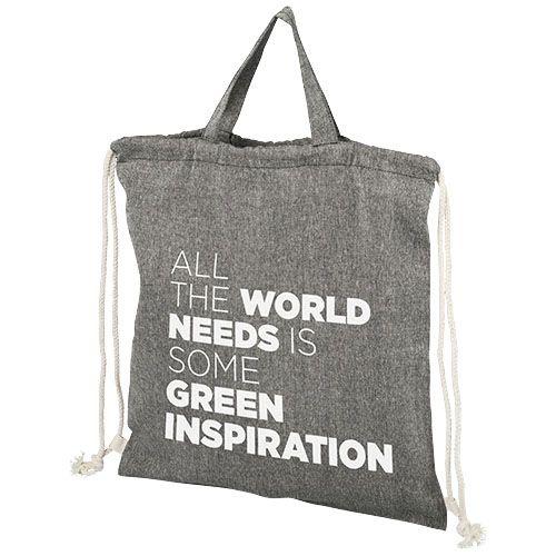Be Inspired Kierrätetystä 150 g/m² puuvillasta valmistettu kiristysnyörillinen reppu