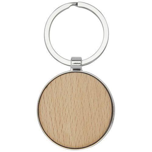 """Porta-chaves redondo em madeira de faia """"Moreno"""" brindes LISBOA"""